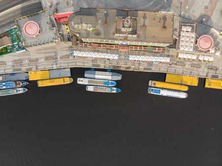 aerial view of river bay with ships. public place. kyiv post square