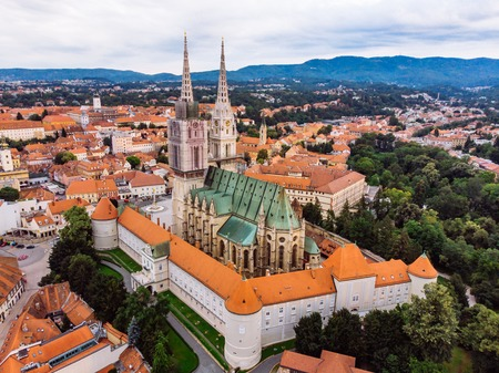 cathedral of zagreb old european gothic church. historic place