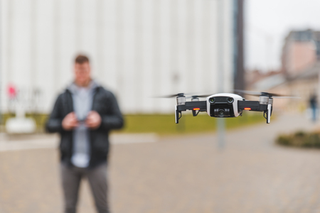 drone close up blurred man on background. copy space