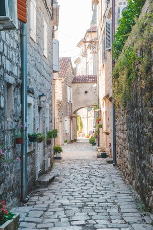 old small streets of perast in montenegro. summer time Imagens