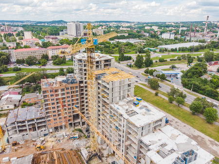 aerial view of apartment construction site. house building