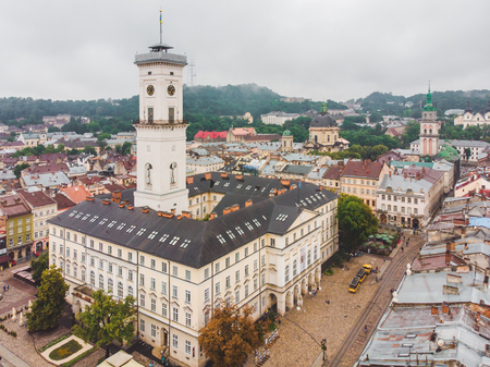 aerial view of center of old european city with beautiful architecture. copy space