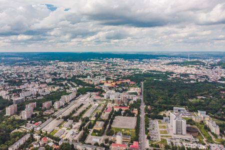 aerial view of city with cloudy weather. cityscape Imagens