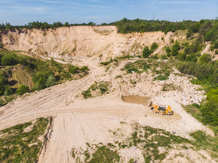 top view of sand mine heavy industrial. environment