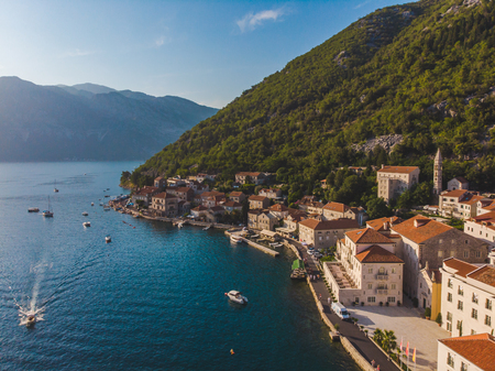 aerial view of perast city in montenegro. summer time