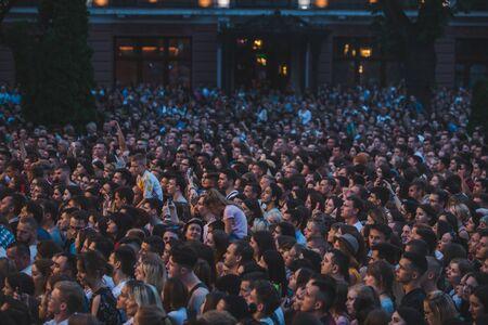 LVIV, UKRAINE - June 18, 2019: crowd of people at concept outdoors. selective focus