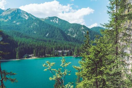 landscape view of braies lake in dolomites mountains in italy. background Stock Photo