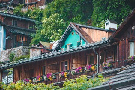 close up view of hallstatt wooden buildings summer time austria
