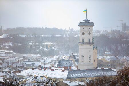 lviv cityscape view at winter time snowed weather Banco de Imagens