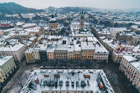 cityscape view of old european city at winter time. architecture