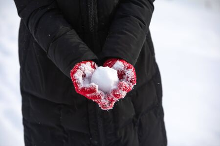 no face. snowball in woman hands in red winter gloves