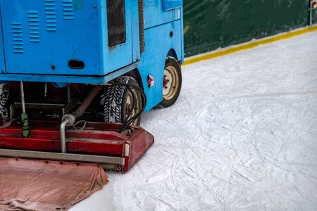 ice rink cleaning machine close up copy space