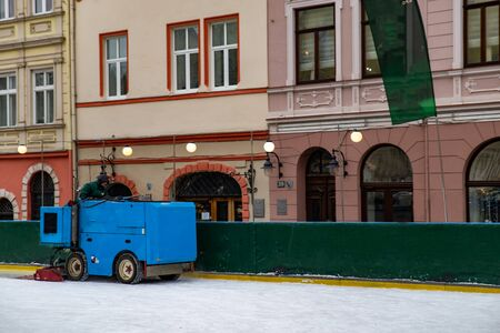 ice rink cleaning machine copy space
