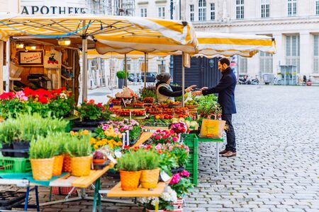 Vienna, Austria - May 16, 2019: local market with fruits and vegetables at city square. copy space 新聞圖片