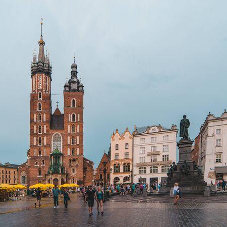 Krakow, Poland - June 16, 2019: old european town market square travel concept