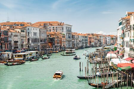 Venice, Italy - May 25, 2019: view of venice city grand canal with boats summer time