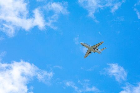 airplane in sky travel concept copy space