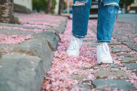 body parts close up. woman walking in white sneakers by fallen off pink sakura flowers. copy space 版權商用圖片