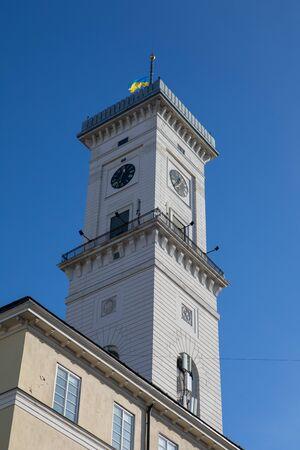 lviv city hall tower famous travel landmark copy space