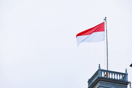 vienna flag at roof of the building austria