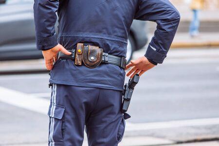 ammunition belt on policeman waist city protection Standard-Bild