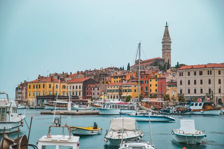 view of Rovinj harbour at rainy weather. copy space