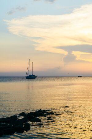 view of orange sunset over the sea. copy space Фото со стока