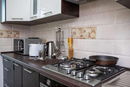 view of home kitchen. domestic life. copy space
