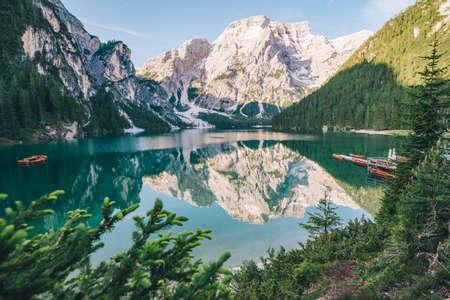 landscape view of alpine lake summer time. reflection in water surface Reklamní fotografie