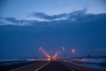 view of early morning at winter snowed highway car travel copy space