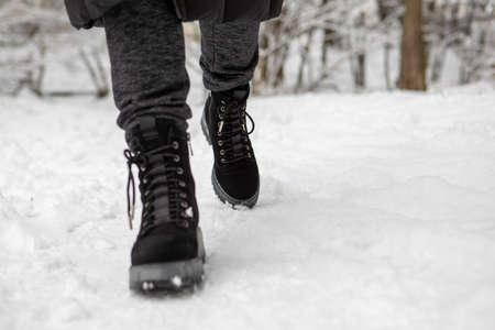boots footprint close up walking outdoors