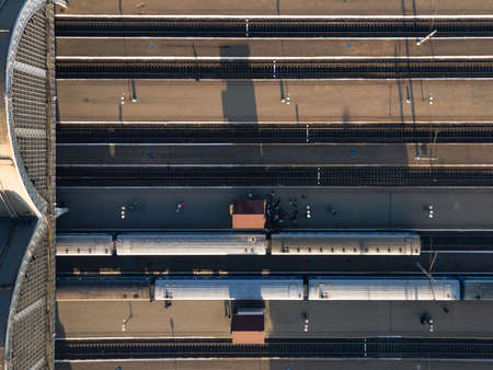 overhead top view of railway station