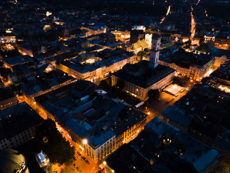 night aerial view of old european city with tight streets. copy space Reklamní fotografie