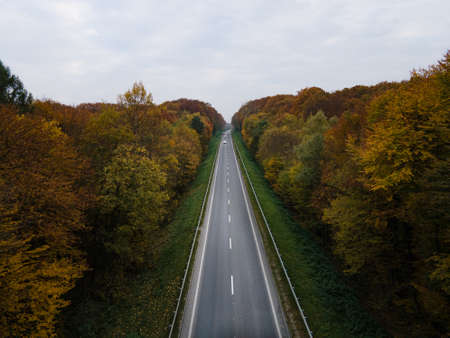 aerial view of autumn highway copy space