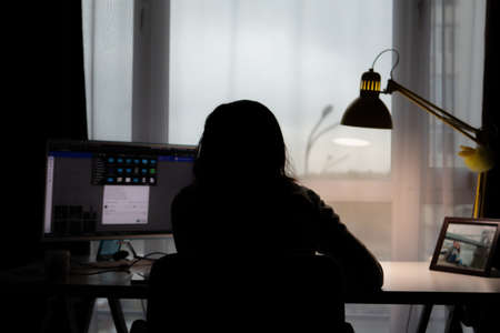 woman working on PC at home silhouette near window