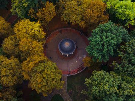 overhead top view of autumn public park