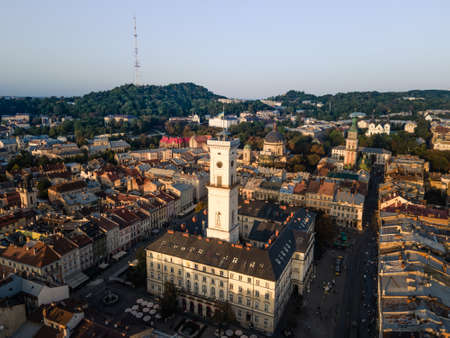 aerial view of city hall in lviv city at morning time