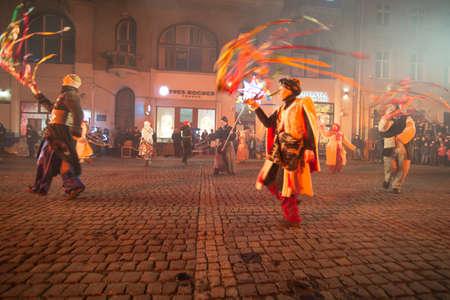 Lviv, Ukraine - December 25, 2017: christmas play of christ birth outdoors at city square. night time