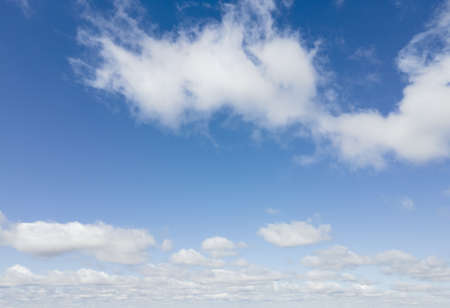view of white clouds in blue sky copy space Stock Photo