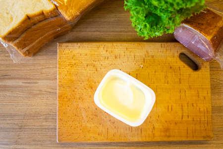 ingredients to cook sandwich close up copy space Standard-Bild