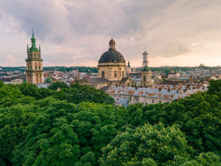 aerial view of lviv city at summer time copy space Standard-Bild