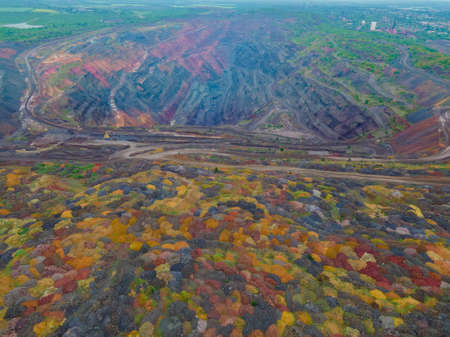 overhead top view of ore mine environment pollution