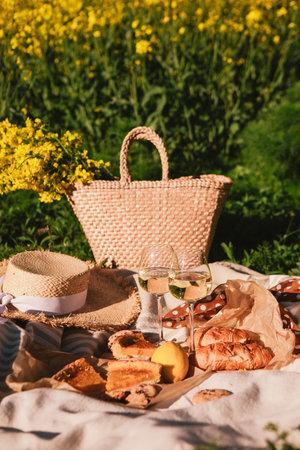 picnic concept glasses of wine bun outdoors on blanket summertime