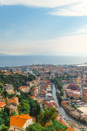 panorama view of Rijeka city harbor at Croatia copy space