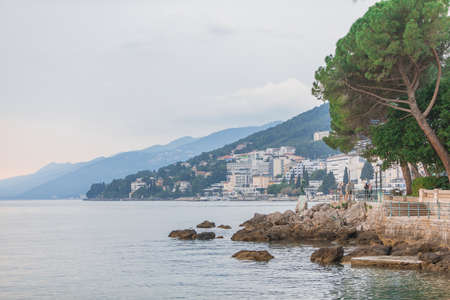 landscape of opatija city at adriatic sea beach copy space travel vacation