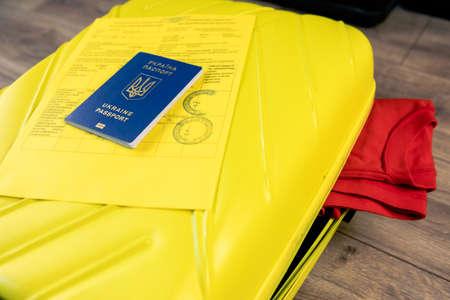 ukraine covid passport vaccination at bags with stuff Standard-Bild