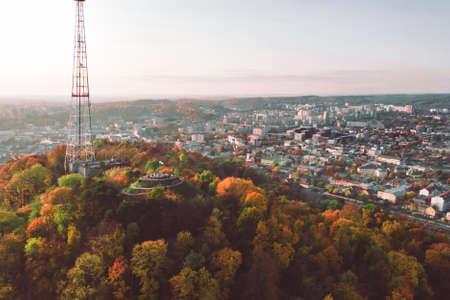 aerial view of observation desk public park above autumn city copy space Standard-Bild