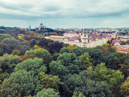 aerial view of autumn european city overcast stormy weather copy space