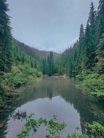 lake in ukrainian carpathian mountains copy space Standard-Bild