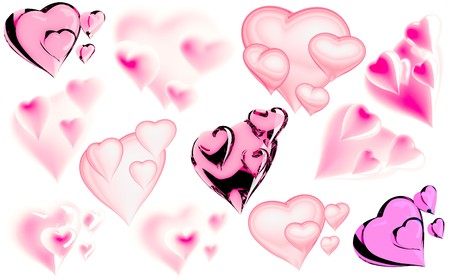 Beautiful hearts by day of sacred Valentine Stock Photo